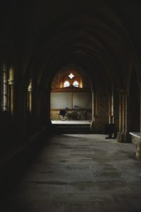 The hallways of a cloister.