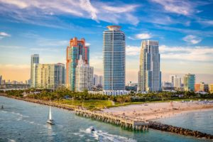 South Florida city scape with tall buildings.