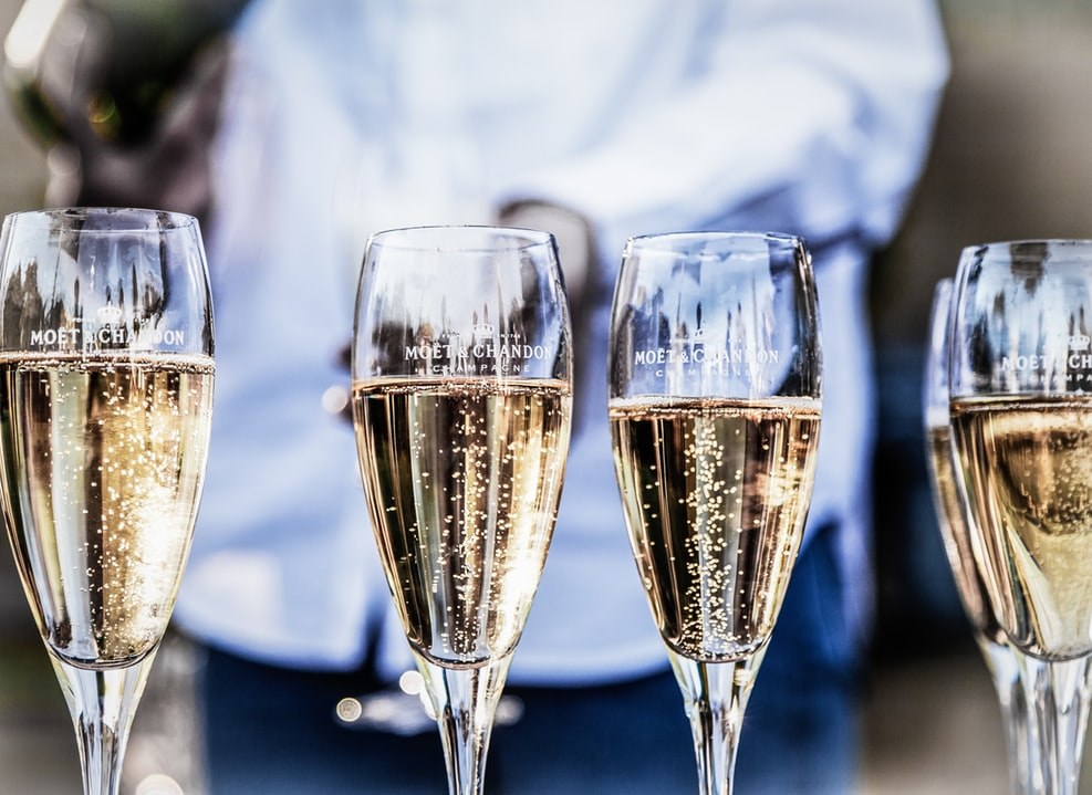 Four glasses of champagne served for a New Year's Eve event.