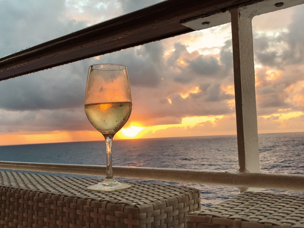 A wine glass on a cruise ship.