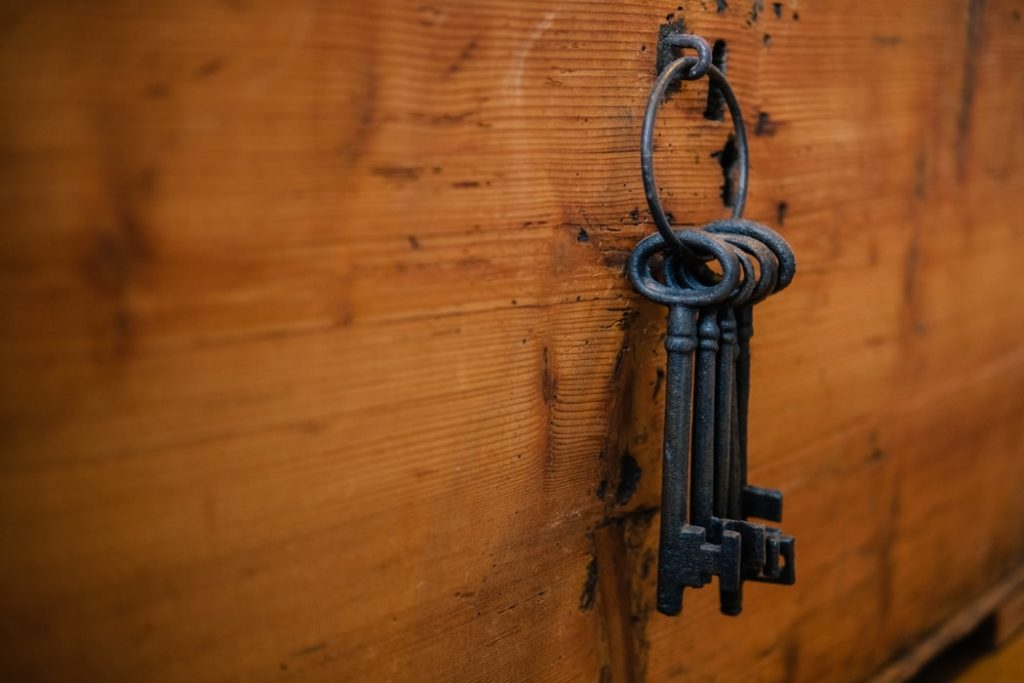 Old keys hanging up in an escape room.