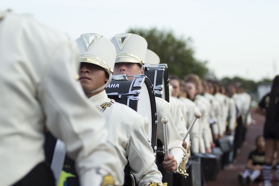 A marching band in a parade.